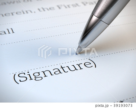 Closeup of the signature box of contract with pen 39193073