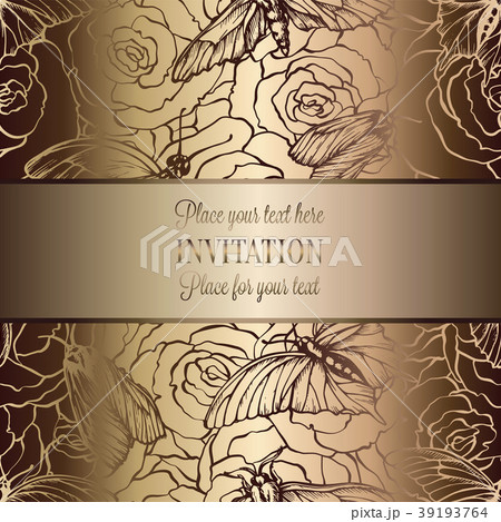 vintage baroque wedding invitation template のイラスト素材 39193764