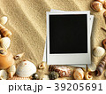 Picture frame on shells and sand background 39205691