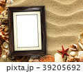 Picture frame on shells and sand background 39205692