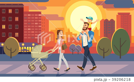 Family walking with baby car at city sunset. 39206218