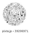夏まつり アイコン 手描き セット 39206971