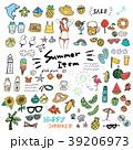 夏 アイコン 手描きのイラスト 39206973