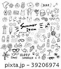 夏のアイコン 手描き セット 39206974