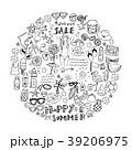 夏のアイコン 手描き セット 39206975