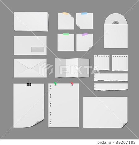 Office Paper Supplies Colorful Blank Templates Set 39207185