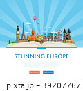 Stunning europe poster with famous attractions. 39207767
