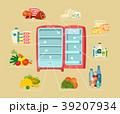 冷蔵庫 冷凍庫 冷房機器のイラスト 39207934