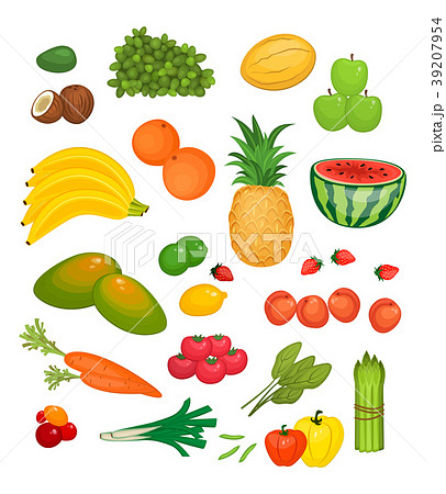 Collection of Fruits and Vegetables Flat Colorfuls 39207954
