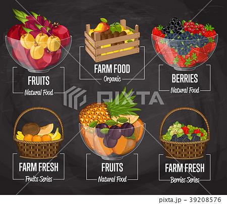Organic farm fruit concept set 39208576