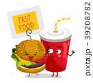 Funny take away glass and burger cartoon character 39208782