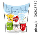 Funny drink cartoon character set 39208789