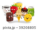 Funny sweet food and drink character set 39208805