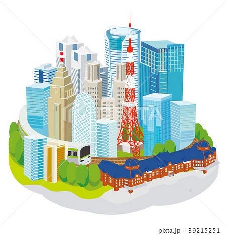 東京の街並み 立体イラスト 39215251