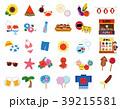 夏のイラストアイコン素材セット(海・祭り・夏休み) 39215581