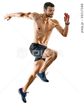 man runner jogger running jogging isolated shadows 39217388