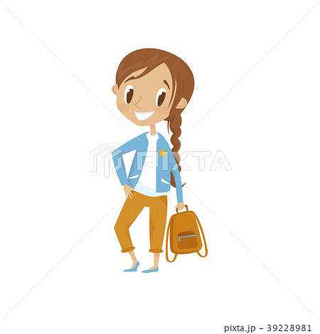 Lovely cartoon girl character in blue jacket and 39228981