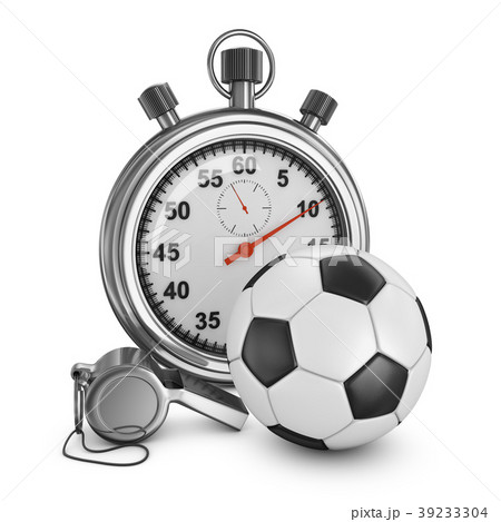 Soccer ball, referee whistle and stopwatch 39233304