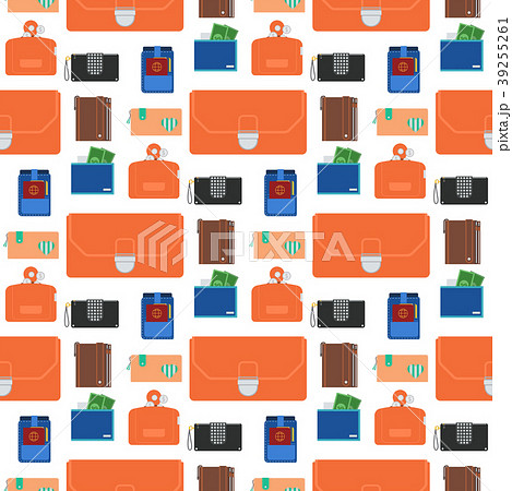 Purse wallet with money seamless pattern 39255261