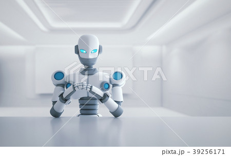 Robot sitting in front of empty table, artificial  39256171