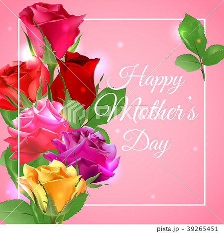 Greeting card for mother's day with a bouquet of 39265451