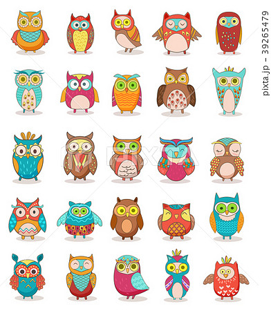Set of colorful cartoon funny owls isolated on 39265479