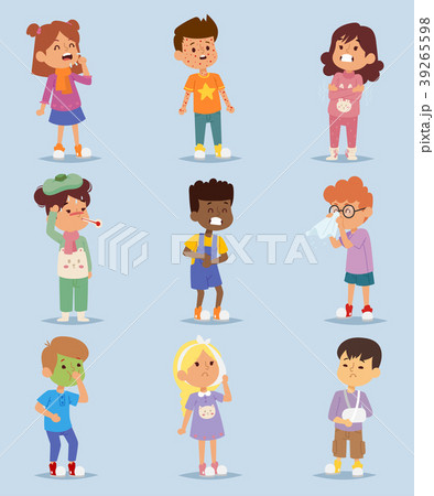 children sickness illness disease little kidsのイラスト素材