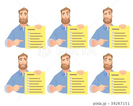 man holding checklist set 39267151