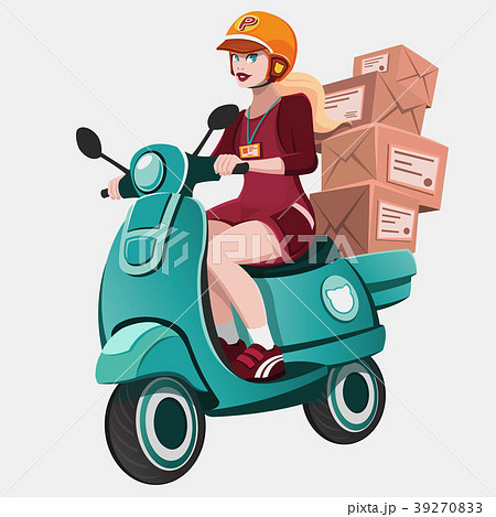 Girl riding scooter.Courier delivering package. 39270833