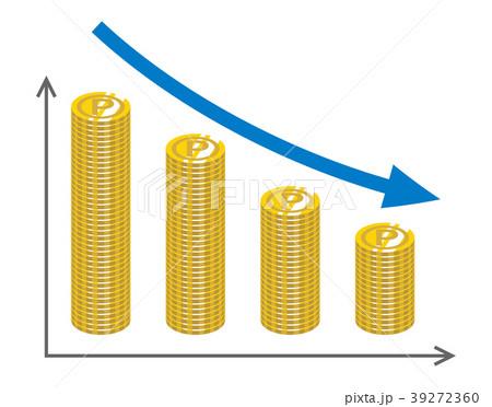 下落するグラフ コイン - ポイント 39272360