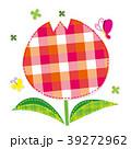 チューリップ チェック柄 蝶々のイラスト 39272962