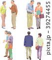 白バック 全身 老夫婦のイラスト 39274455