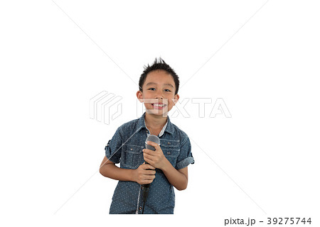 Portrait of little Asian boy  holding microphone 39275744