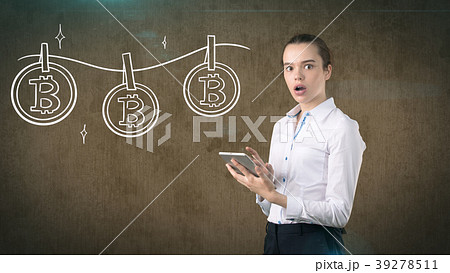 Lucky cute lady and bitcoin investment. Concept of 39278511
