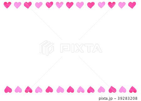 手描きフレーム ライン ハート 2色ピンク 39283208