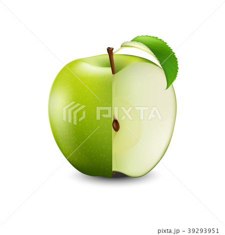 Vector Realistic Green Apple Cut With Seeds   39293951