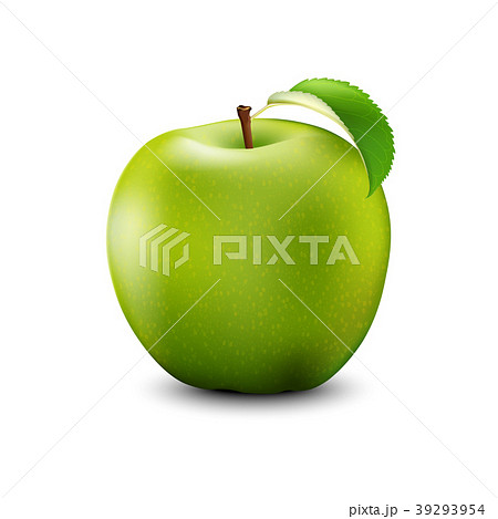 Green Apple Realistic With Leaf. Detailed 3d  39293954