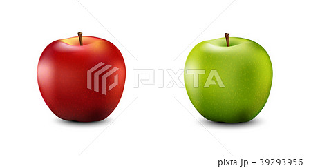 Red and Green Apple Set. Realistic 3d apples  39293956