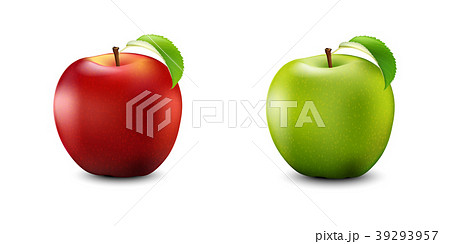 Red and Green Apple Set. Realistic With Leaf  39293957
