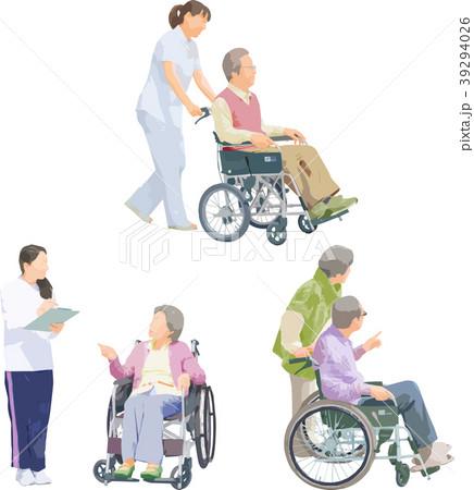 全身人物イラスト_車椅子介護 39294026