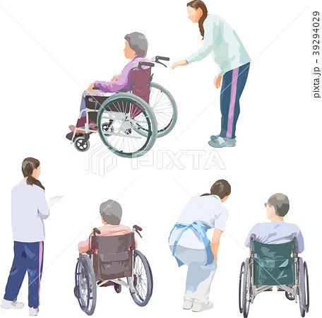 全身人物イラスト_車椅子介護 39294029