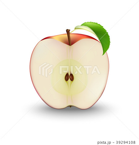 Vector Realistic Red Apple Cut in Half With Seeds  39294108