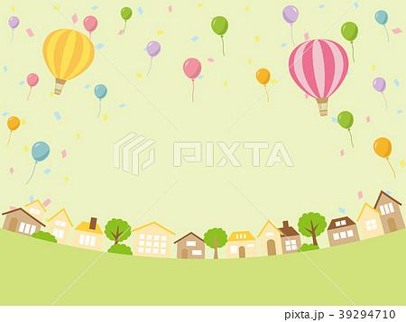 風船と街並み 39294710