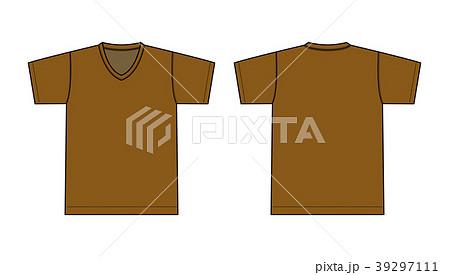 V ネック Tシャツ 絵型イラスト/ 茶色・ブラウン 39297111