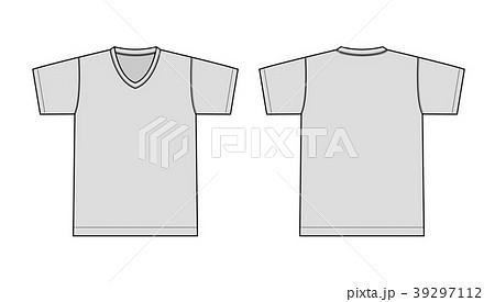 V ネック Tシャツ 絵型イラスト/ グレー 39297112
