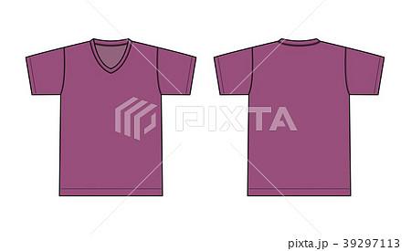 V ネック Tシャツ 絵型イラスト/ パープル・紫 39297113