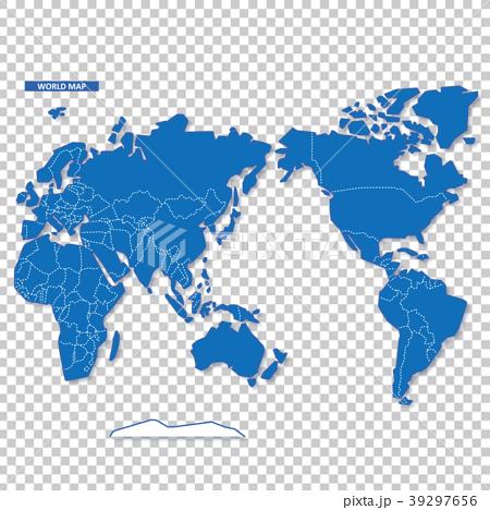 セカイ地図 シンプル青 39297656