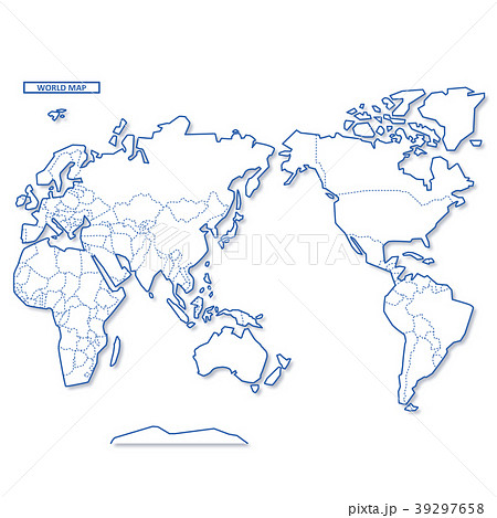 セカイ地図 シンプル白地図 39297658