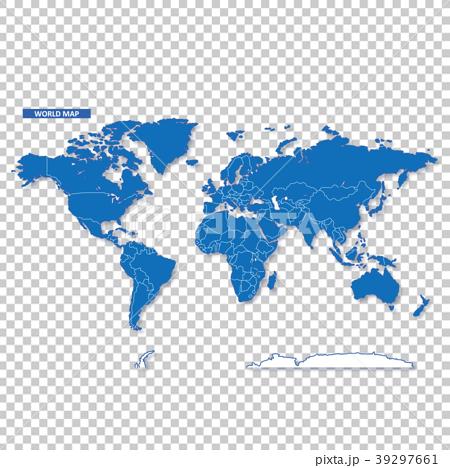 セカイ地図 シンプル青 39297661