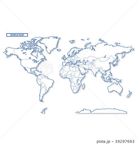 セカイ地図 シンプル白地図 39297663